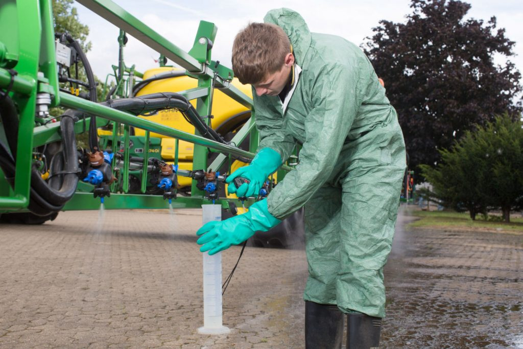 sprayer being checked for the NSTS test