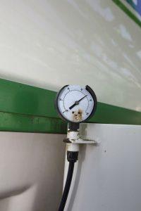 A damaged pressure gauge